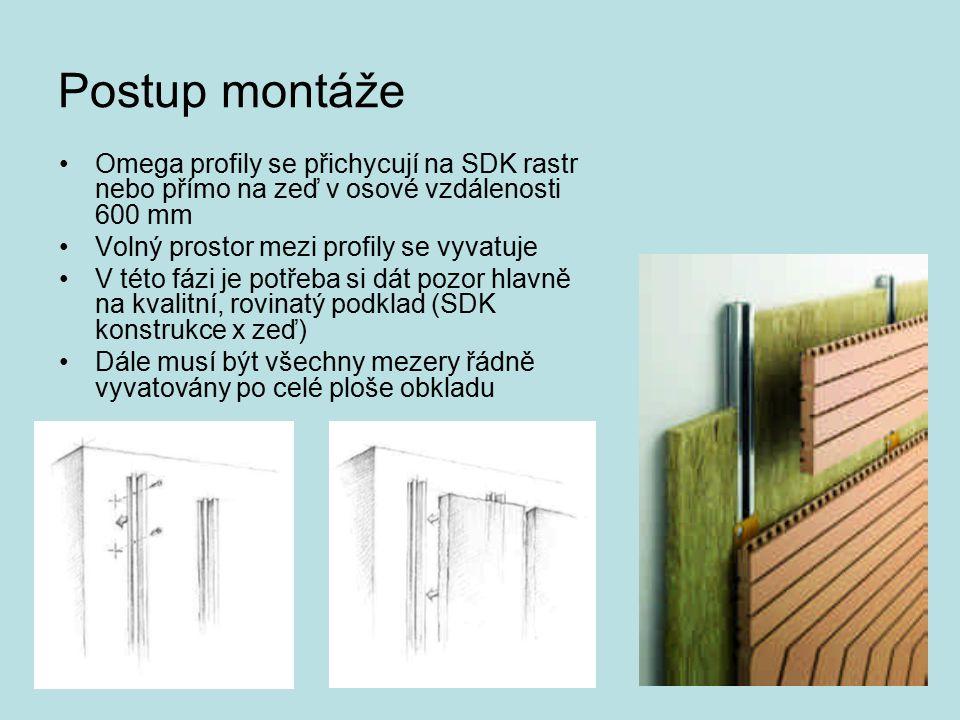 Postup montáže Omega profily se přichycují na SDK rastr nebo přímo na zeď v osové vzdálenosti 600 mm Volný prostor mezi profily se vyvatuje V této fáz