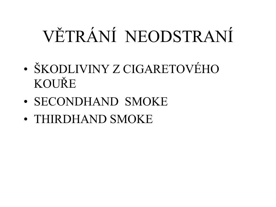 VĚTRÁNÍ NEODSTRANÍ ŠKODLIVINY Z CIGARETOVÉHO KOUŘE SECONDHAND SMOKE THIRDHAND SMOKE