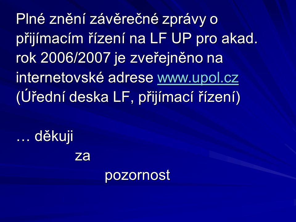 Plné znění závěrečné zprávy o přijímacím řízení na LF UP pro akad. rok 2006/2007 je zveřejněno na internetovské adrese www.upol.cz (Úřední deska LF, p