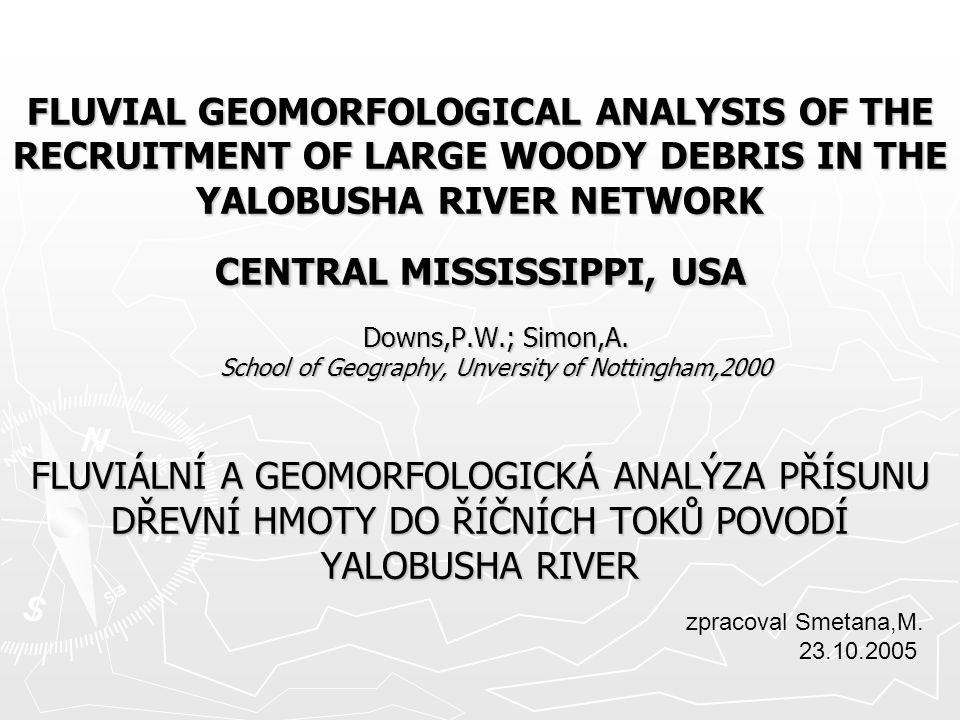 LARGE WOODY DEBRIS (LWD) – MRTVÉ DŘEVO V KORYTĚ (SPLÁVY) -do toků se dostávají z břehů s příbřežním pásem dřevin -mají vliv na hydrauliku toku, na transport a ukládání sedimentů, stávají se přirozenými úkryty živočichů → zvyšování druhové diversity → často vítány ekology X -akumulace LWD tvoří překážky v toku (často pod mosty, v zákrutech a meandrech,..), zadržují vodu, často způsobují lokální vybřežení → správci toků spolu s obcemi na toku po proudu často trvají na jejich odstranění PŘEMISŤOVÁNÍ LWDs -závisí (za předpokladu konstantního klimatu ve sledovaném období) především na: 1.rychlosti odumírání dřevní hmoty na březích 2.frekvenci průtoků s dostatečnou unášecí schopností ↔ rychlosti a typu eroze břehů 3 MOŽNOSTI PŘÍSUNU DŘEVA DO TOKU 1.STABILNÍ TOK - často přímý/napřímený - přísun dřeva díky bouřím, záplavám, přirozenému odumírání a padání do koryta, občasným sesuvům,… - zcela pravděpodobnostní proces na přirozených i upravovaných tocích