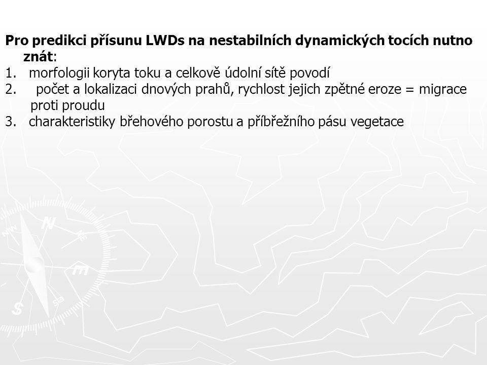 Pro predikci přísunu LWDs na nestabilních dynamických tocích nutno znát: 1. morfologii koryta toku a celkově údolní sítě povodí 2. počet a lokalizaci