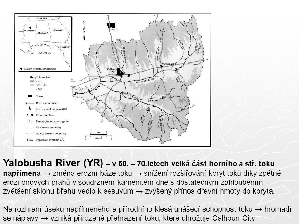 Yalobusha River (YR) – v 50. – 70.letech velká část horního a stř. toku napřímena → změna erozní báze toku → snížení rozšiřování koryt toků díky zpětn