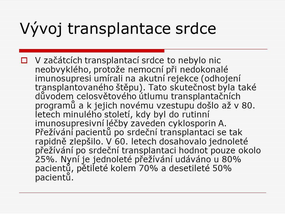 Vývoj transplantace srdce  V začátcích transplantací srdce to nebylo nic neobvyklého, protože nemocní při nedokonalé imunosupresi umírali na akutní rejekce (odhojení transplantovaného štěpu).
