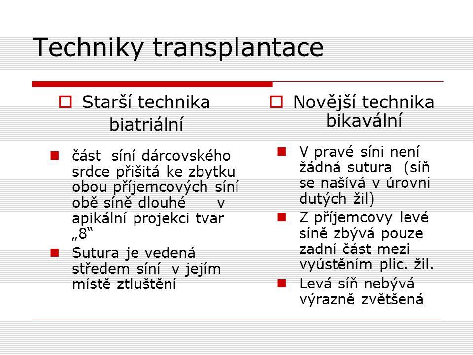 """Techniky transplantace  Starší technika biatriální část síní dárcovského srdce přišitá ke zbytku obou příjemcových síní obě síně dlouhé v apikální projekci tvar """"8 Sutura je vedená středem síní v jejím místě ztluštění  Novější technika bikavální V pravé síni není žádná sutura (síň se našívá v úrovni dutých žil) Z příjemcovy levé síně zbývá pouze zadní část mezi vyústěním plic."""