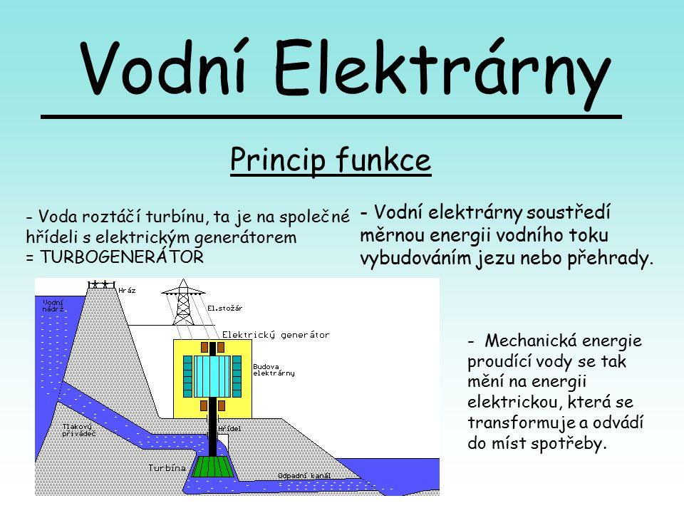 Princip funkce - Vodní elektrárny soustředí měrnou energii vodního toku vybudováním jezu nebo přehrady.