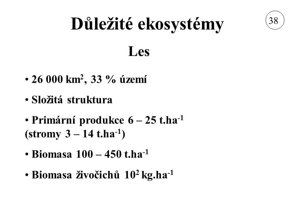 Důležité ekosystémy 26 000 km 2, 33 % území Složitá struktura Primární produkce 6 – 25 t.ha -1 (stromy 3 – 14 t.ha -1 ) Biomasa 100 – 450 t.ha -1 Biom