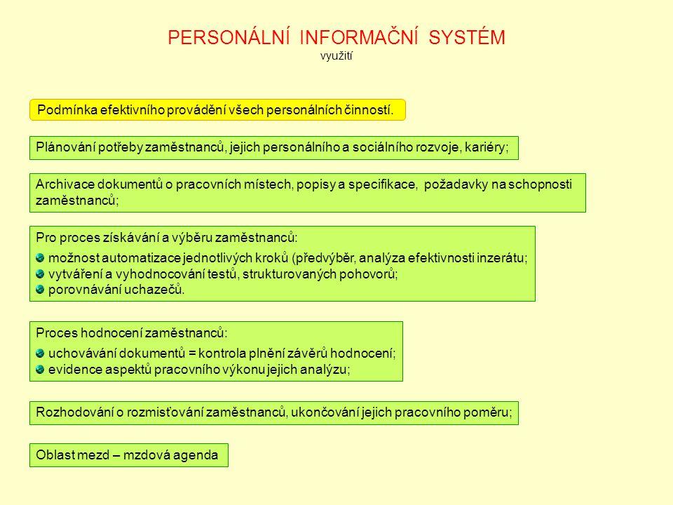 PERSONÁLNÍ INFORMAČNÍ SYSTÉM využití Podmínka efektivního provádění všech personálních činností. Plánování potřeby zaměstnanců, jejich personálního a