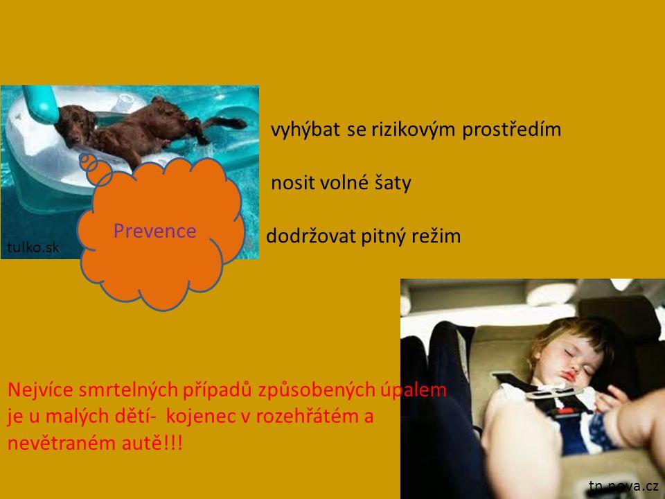 vyhýbat se rizikovým prostředím nosit volné šaty dodržovat pitný režim tulko.sk tn.nova.cz Prevence Nejvíce smrtelných případů způsobených úpalem je u malých dětí- kojenec v rozehřátém a nevětraném autě!!!