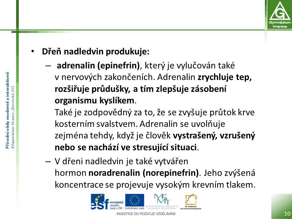 Přírodní vědy moderně a interaktivně ©Gymnázium Hranice, Zborovská 293 Dřeň nadledvin produkuje: – adrenalin (epinefrin), který je vylučován také v nervových zakončeních.