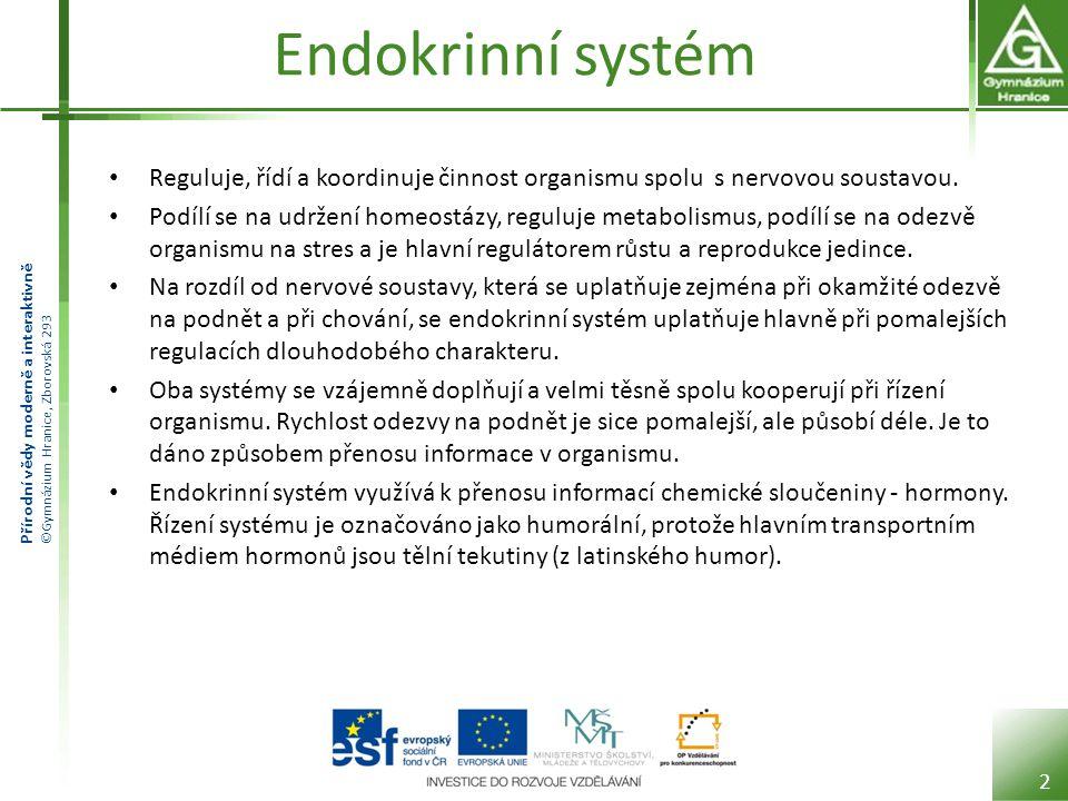Přírodní vědy moderně a interaktivně ©Gymnázium Hranice, Zborovská 293 Endokrinní systém Reguluje, řídí a koordinuje činnost organismu spolu s nervovou soustavou.