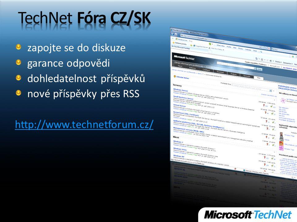 zapojte se do diskuze garance odpovědi dohledatelnost příspěvků nové příspěvky přes RSS http://www.technetforum.cz/