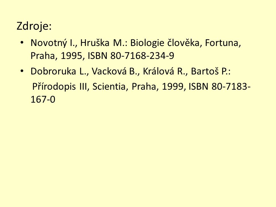 Zdroje: Novotný I., Hruška M.: Biologie člověka, Fortuna, Praha, 1995, ISBN 80-7168-234-9 Dobroruka L., Vacková B., Králová R., Bartoš P.: Přírodopis