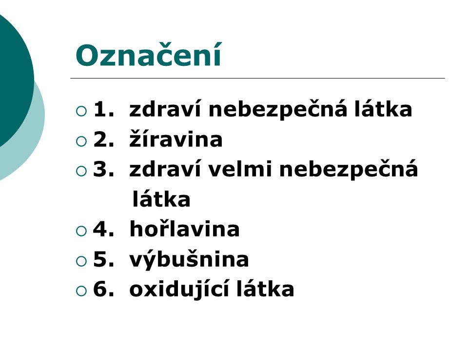 Označení  1. zdraví nebezpečná látka  2. žíravina  3.