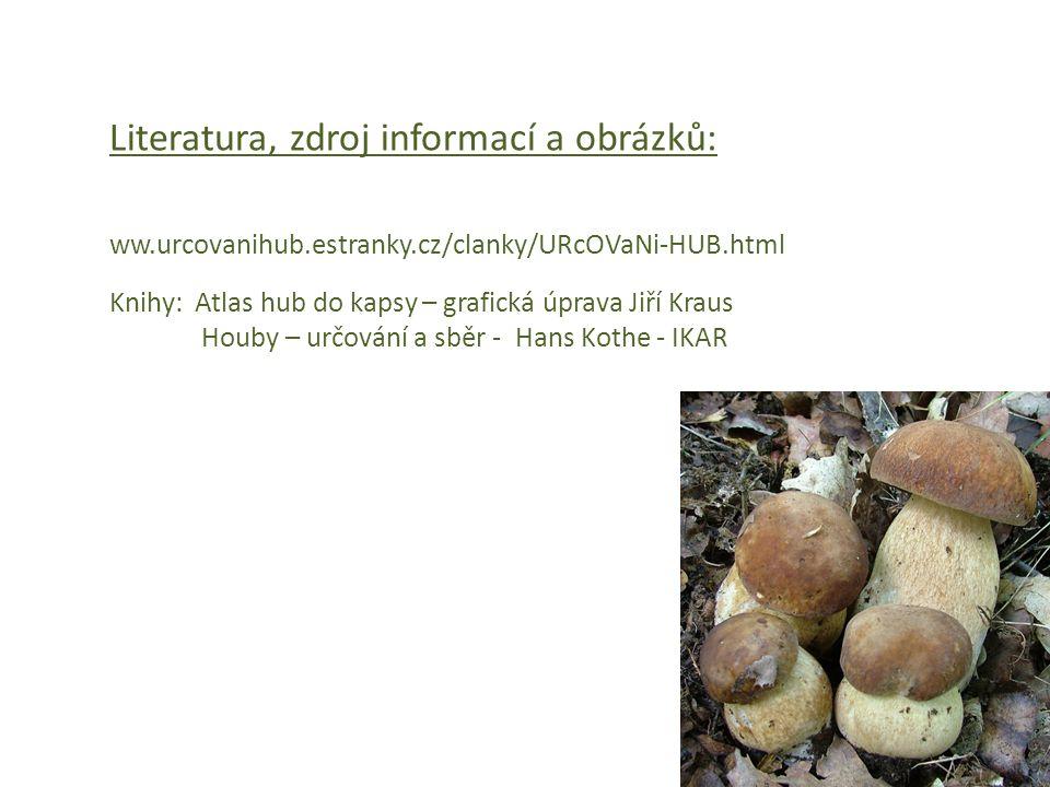 Literatura, zdroj informací a obrázků: ww.urcovanihub.estranky.cz/clanky/URcOVaNi-HUB.html Knihy: Atlas hub do kapsy – grafická úprava Jiří Kraus Houb
