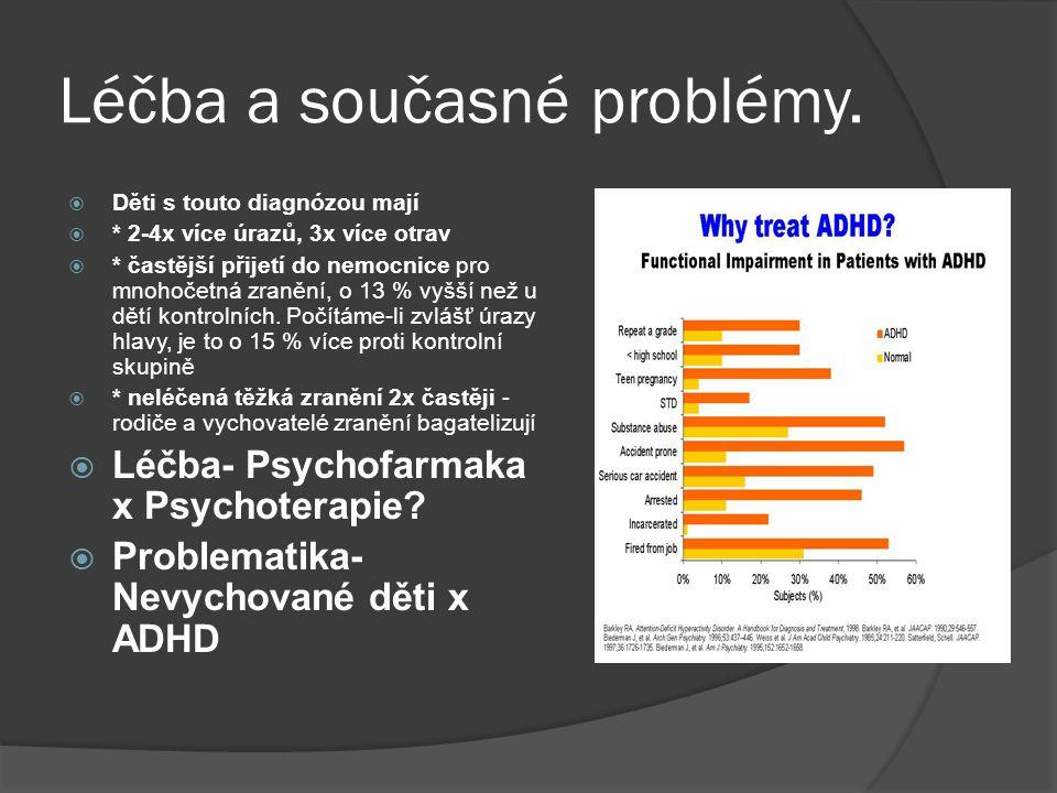 Léčba a současné problémy.  Děti s touto diagnózou mají  * 2-4x více úrazů, 3x více otrav  * častější přijetí do nemocnice pro mnohočetná zranění,