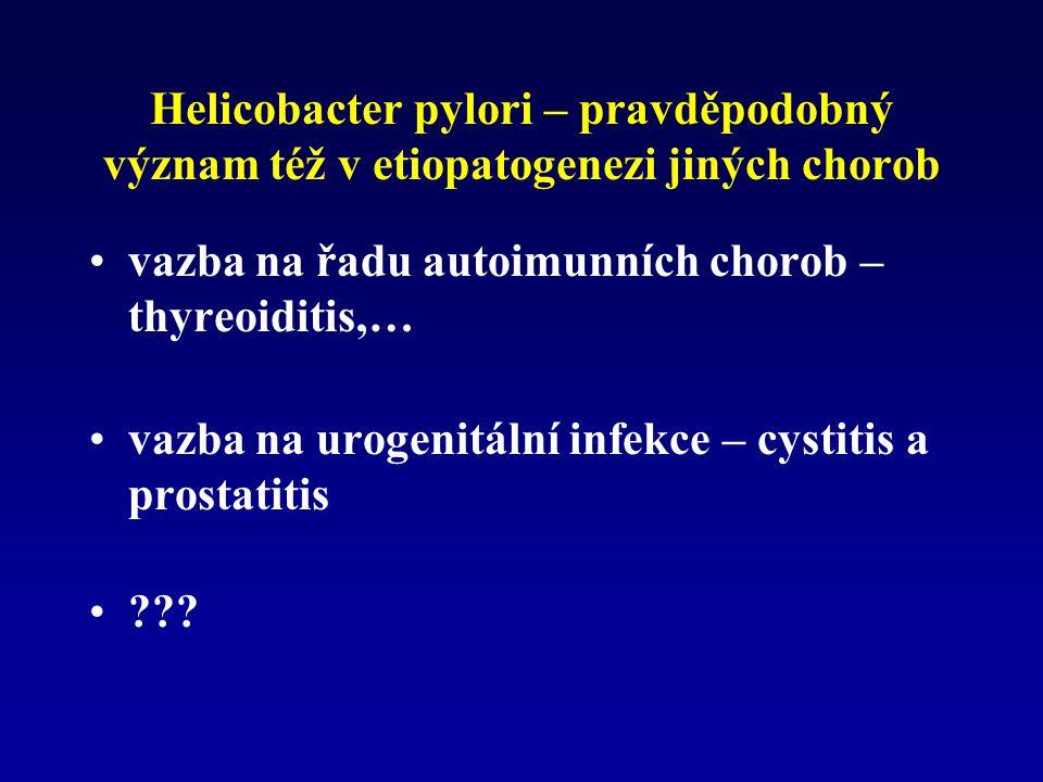 Helicobacter pylori – pravděpodobný význam též v etiopatogenezi jiných chorob vazba na řadu autoimunních chorob – thyreoiditis,… vazba na urogenitální