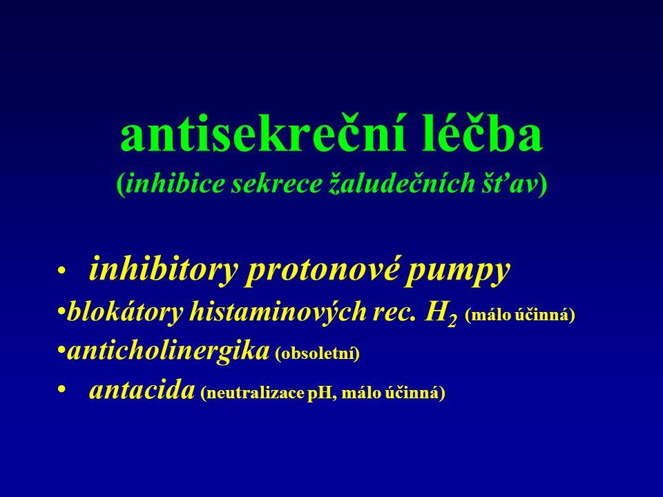 antisekreční léčba (inhibice sekrece žaludečních šťav) inhibitory protonové pumpy blokátory histaminových rec. H 2 (málo účinná) anticholinergika (obs