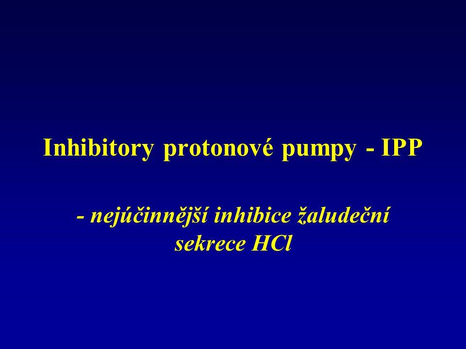 Inhibitory protonové pumpy - IPP - nejúčinnější inhibice žaludeční sekrece HCl