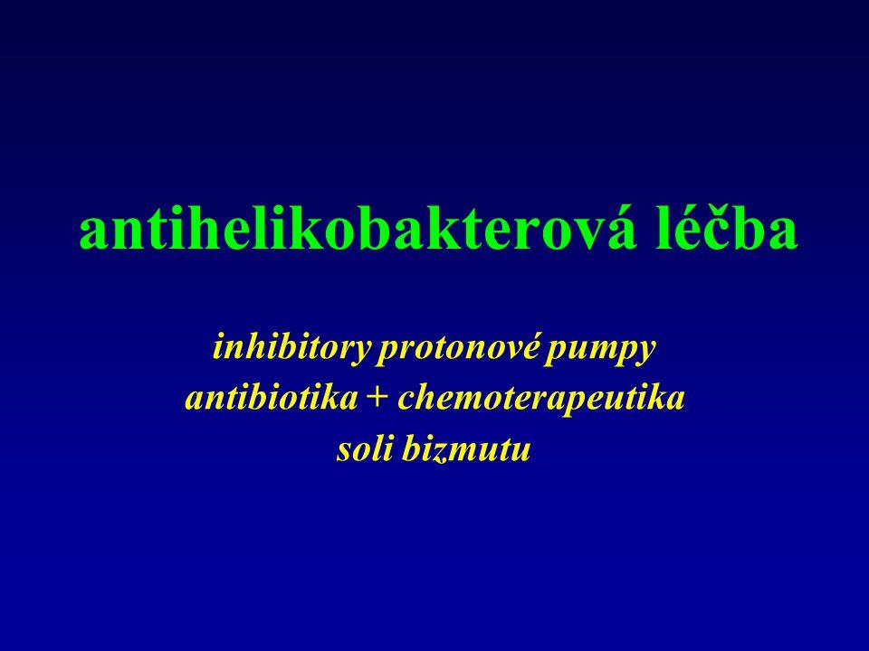 antihelikobakterová léčba inhibitory protonové pumpy antibiotika + chemoterapeutika soli bizmutu