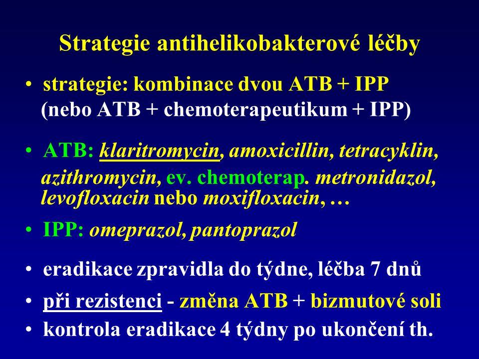 Strategie antihelikobakterové léčby strategie: kombinace dvou ATB + IPP (nebo ATB + chemoterapeutikum + IPP) ATB: klaritromycin, amoxicillin, tetracyk