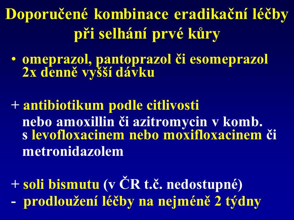 Doporučené kombinace eradikační léčby při selhání prvé kůry omeprazol, pantoprazol či esomeprazol 2x denně vyšší dávku + antibiotikum podle citlivosti