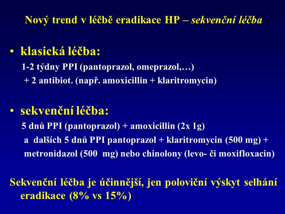 Nový trend v léčbě eradikace HP – sekvenční léčba klasická léčba: 1-2 týdny PPI (pantoprazol, omeprazol,…) + 2 antibiot. (např. amoxicillin + klaritro