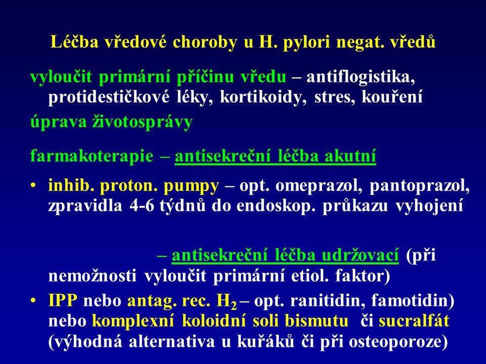 Léčba vředové choroby u H. pylori negat. vředů vyloučit primární příčinu vředu – antiflogistika, protidestičkové léky, kortikoidy, stres, kouření úpra