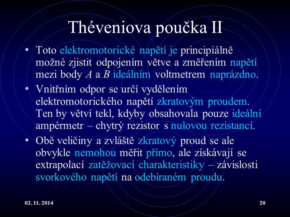 02. 11. 201420 Théveniova poučka II Toto elektromotorické napětí je principiálně možné zjistit odpojením větve a změřením napětí mezi body A a B ideál
