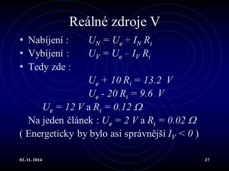 02. 11. 201427 Reálné zdroje V Nabíjení :U N = U e + I N R i Vybíjení :U V = U e – I V R i Tedy zde : U e + 10 R i = 13.2 V U e - 20 R i = 9.6 V U e =
