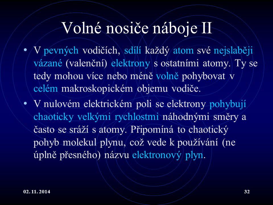 02. 11. 201432 Volné nosiče náboje II V pevných vodičích, sdílí každý atom své nejslaběji vázané (valenční) elektrony s ostatními atomy. Ty se tedy mo