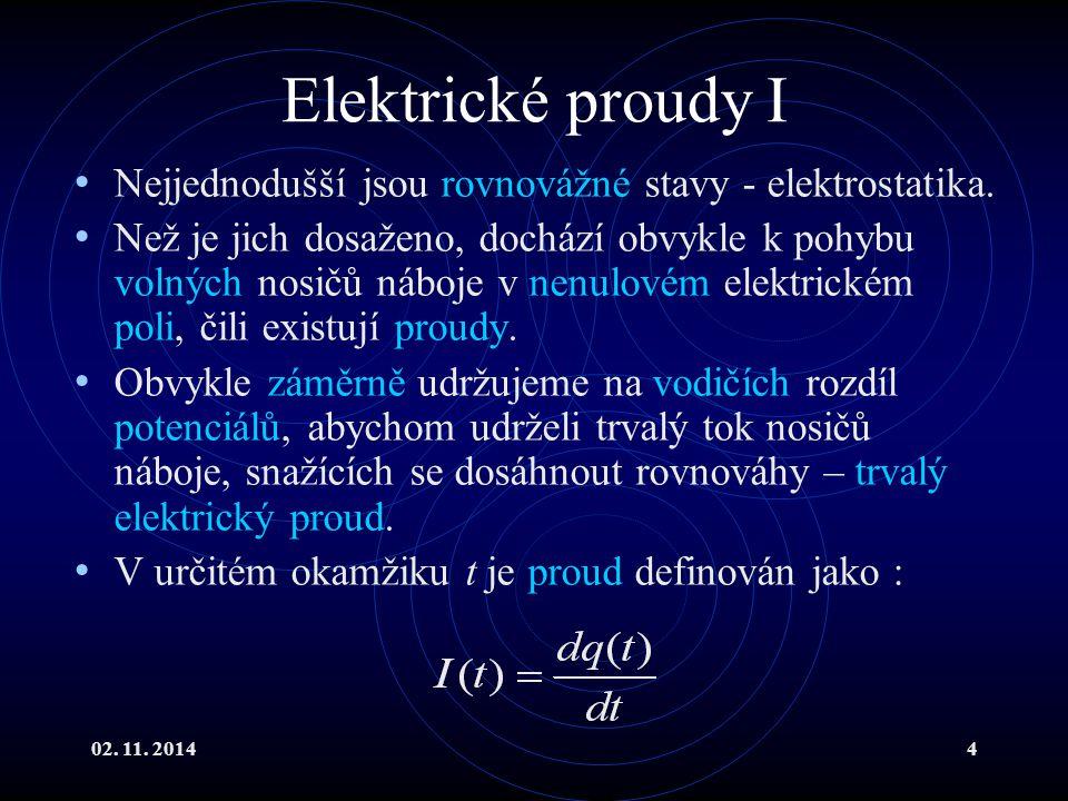 02. 11. 20144 Elektrické proudy I Nejjednodušší jsou rovnovážné stavy - elektrostatika. Než je jich dosaženo, dochází obvykle k pohybu volných nosičů