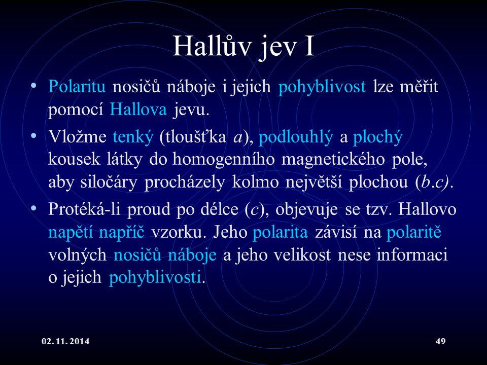 02. 11. 201449 Hallův jev I Polaritu nosičů náboje i jejich pohyblivost lze měřit pomocí Hallova jevu. Vložme tenký (tloušťka a), podlouhlý a plochý k