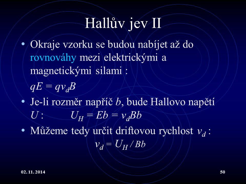 02. 11. 201450 Hallův jev II Okraje vzorku se budou nabíjet až do rovnováhy mezi elektrickými a magnetickými silami : qE = qv d B Je-li rozměr napříč
