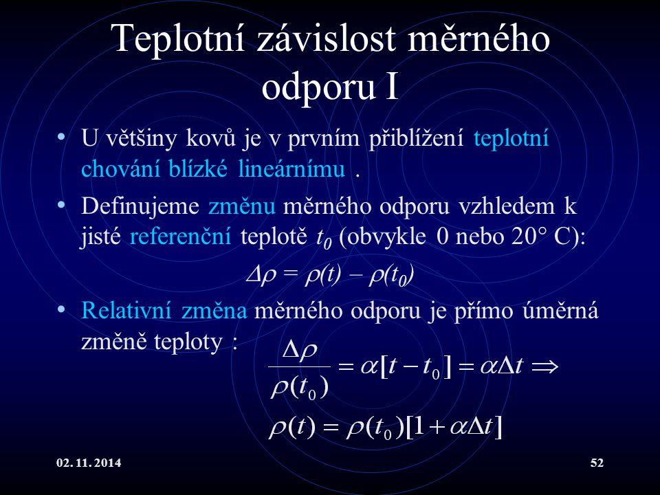 02. 11. 201452 Teplotní závislost měrného odporu I U většiny kovů je v prvním přiblížení teplotní chování blízké lineárnímu. Definujeme změnu měrného
