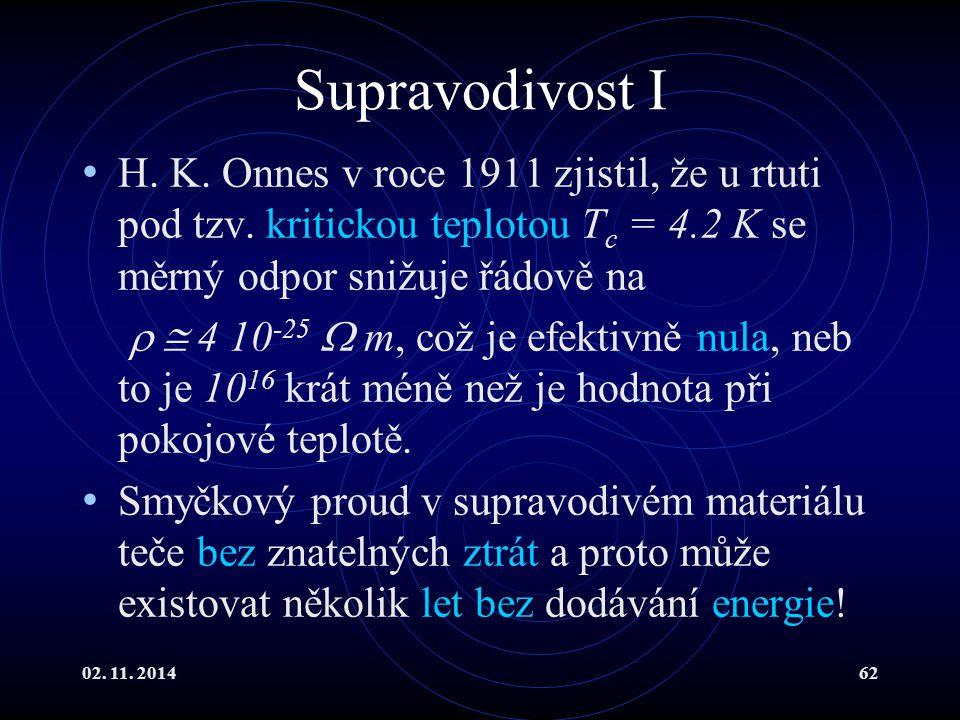 02. 11. 201462 Supravodivost I H. K. Onnes v roce 1911 zjistil, že u rtuti pod tzv. kritickou teplotou T c = 4.2 K se měrný odpor snižuje řádově na 