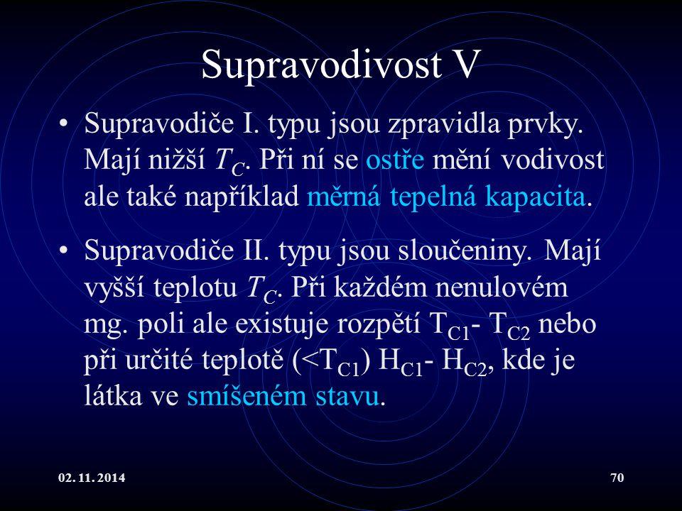 02. 11. 201470 Supravodivost V Supravodiče I. typu jsou zpravidla prvky. Mají nižší T C. Při ní se ostře mění vodivost ale také například měrná tepeln