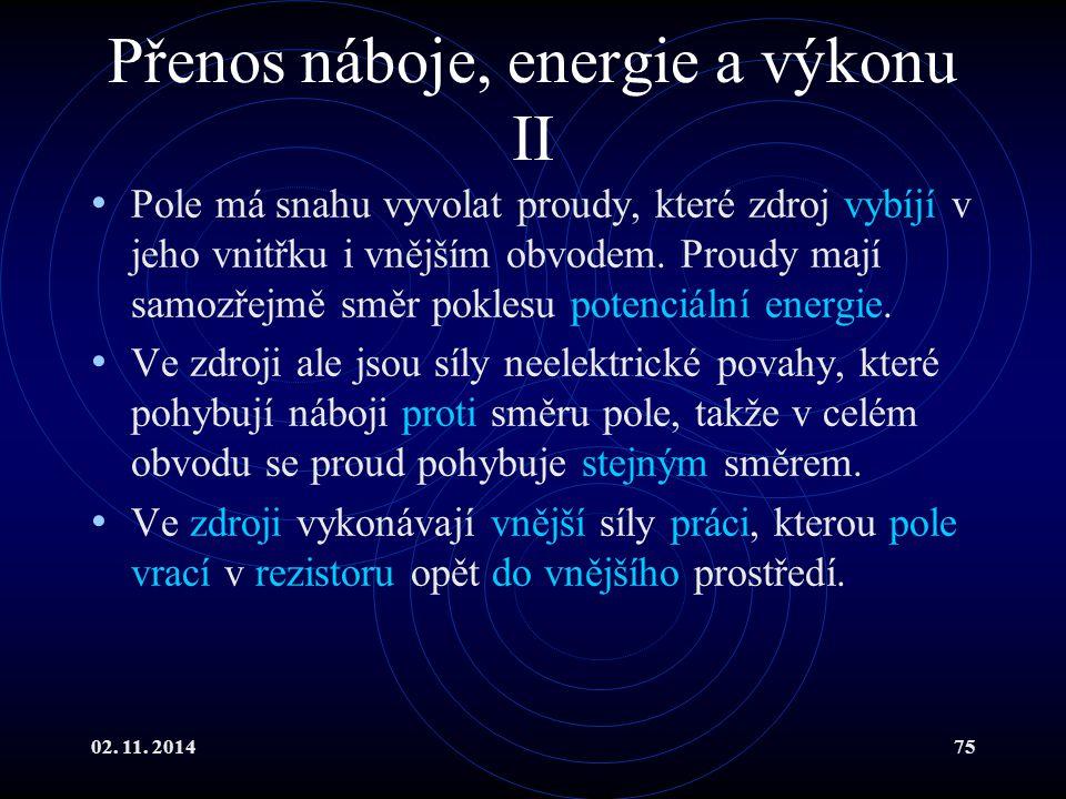 02. 11. 201475 Přenos náboje, energie a výkonu II Pole má snahu vyvolat proudy, které zdroj vybíjí v jeho vnitřku i vnějším obvodem. Proudy mají samoz