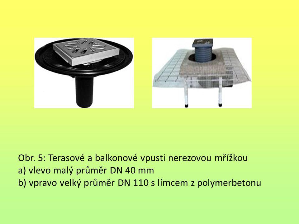 Obr. 5: Terasové a balkonové vpusti nerezovou mřížkou a) vlevo malý průměr DN 40 mm b) vpravo velký průměr DN 110 s límcem z polymerbetonu