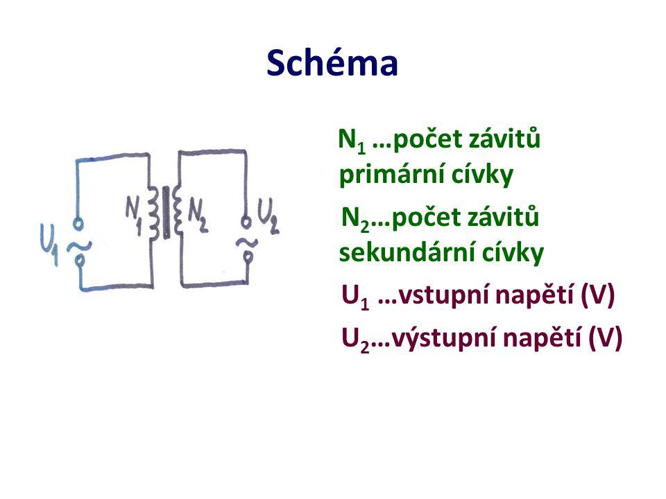 Schéma N 1 …počet závitů primární cívky N 2 …počet závitů sekundární cívky U 1 …vstupní napětí (V) U 2 …výstupní napětí (V)