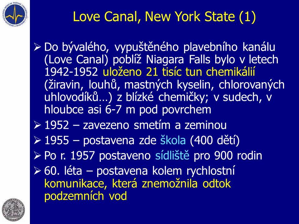 Love Canal, New York State (1)  Do bývalého, vypuštěného plavebního kanálu (Love Canal) poblíž Niagara Falls bylo v letech 1942-1952 uloženo 21 tisíc tun chemikálií (žiravin, louhů, mastných kyselin, chlorovaných uhlovodíků…) z blízké chemičky; v sudech, v hloubce asi 6-7 m pod povrchem  1952 – zavezeno smetím a zeminou  1955 – postavena zde škola (400 dětí)  Po r.