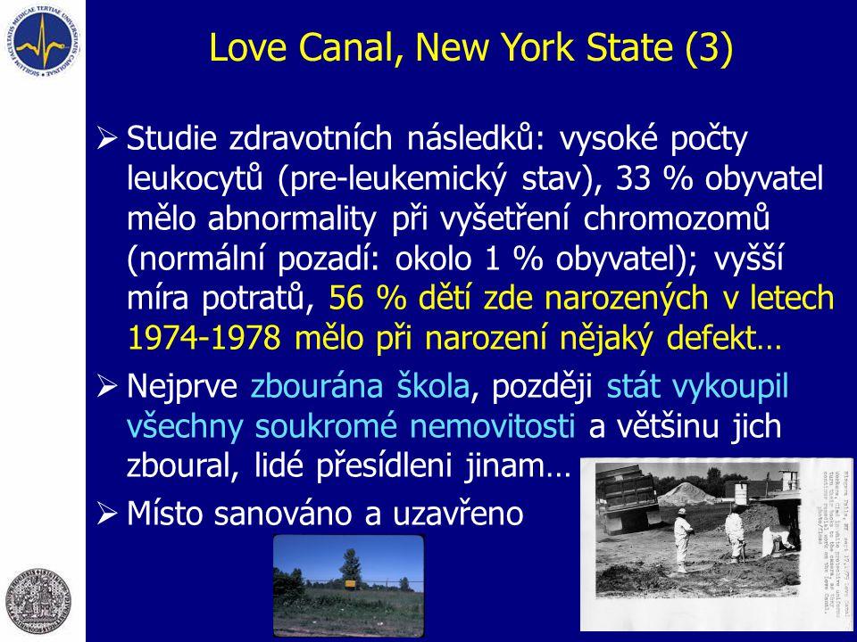 Love Canal, New York State (3)  Studie zdravotních následků: vysoké počty leukocytů (pre-leukemický stav), 33 % obyvatel mělo abnormality při vyšetření chromozomů (normální pozadí: okolo 1 % obyvatel); vyšší míra potratů, 56 % dětí zde narozených v letech 1974-1978 mělo při narození nějaký defekt…  Nejprve zbourána škola, později stát vykoupil všechny soukromé nemovitosti a většinu jich zboural, lidé přesídleni jinam…  Místo sanováno a uzavřeno