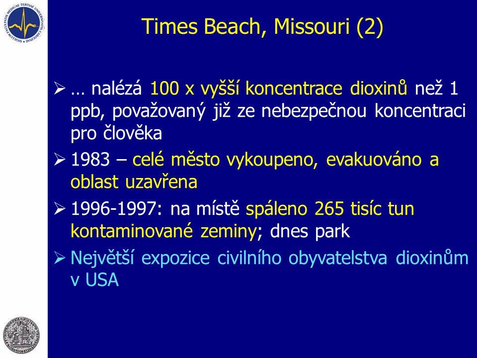 Times Beach, Missouri (2)  … nalézá 100 x vyšší koncentrace dioxinů než 1 ppb, považovaný již ze nebezpečnou koncentraci pro člověka  1983 – celé město vykoupeno, evakuováno a oblast uzavřena  1996-1997: na místě spáleno 265 tisíc tun kontaminované zeminy; dnes park  Největší expozice civilního obyvatelstva dioxinům v USA