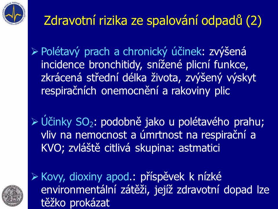 Zdravotní rizika ze spalování odpadů (2)  Polétavý prach a chronický účinek: zvýšená incidence bronchitidy, snížené plicní funkce, zkrácená střední d