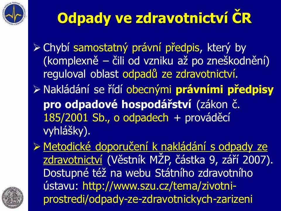 Odpady ve zdravotnictví ČR  Chybí samostatný právní předpis, který by (komplexně – čili od vzniku až po zneškodnění) reguloval oblast odpadů ze zdravotnictví.