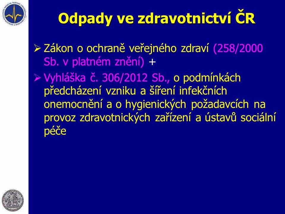 Odpady ve zdravotnictví ČR  Zákon o ochraně veřejného zdraví (258/2000 Sb. v platném znění) +  Vyhláška č. 306/2012 Sb., o podmínkách předcházení vz