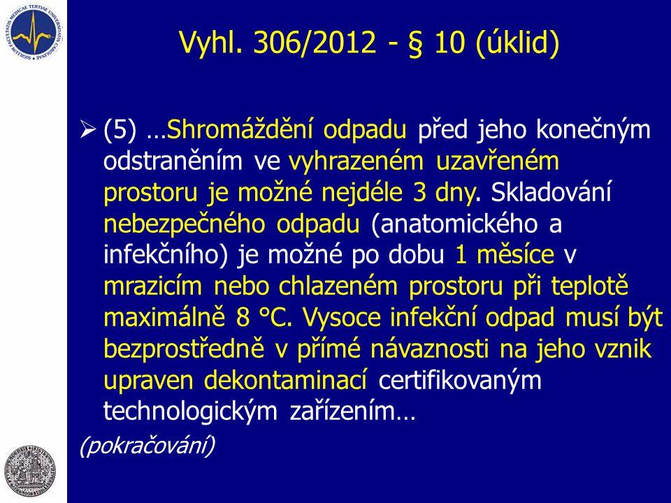 Vyhl. 306/2012 - § 10 (úklid)  (5) …Shromáždění odpadu před jeho konečným odstraněním ve vyhrazeném uzavřeném prostoru je možné nejdéle 3 dny. Sklado