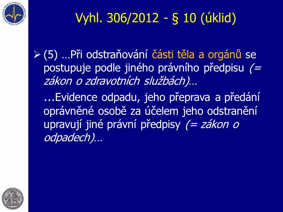 Vyhl. 306/2012 - § 10 (úklid)  (5) …Při odstraňování části těla a orgánů se postupuje podle jiného právního předpisu (= zákon o zdravotních službách)