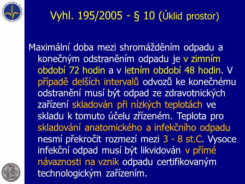 Vyhl. 195/2005 - § 10 ( Úklid prostor) Maximální doba mezi shromážděním odpadu a konečným odstraněním odpadu je v zimním období 72 hodin a v letním ob