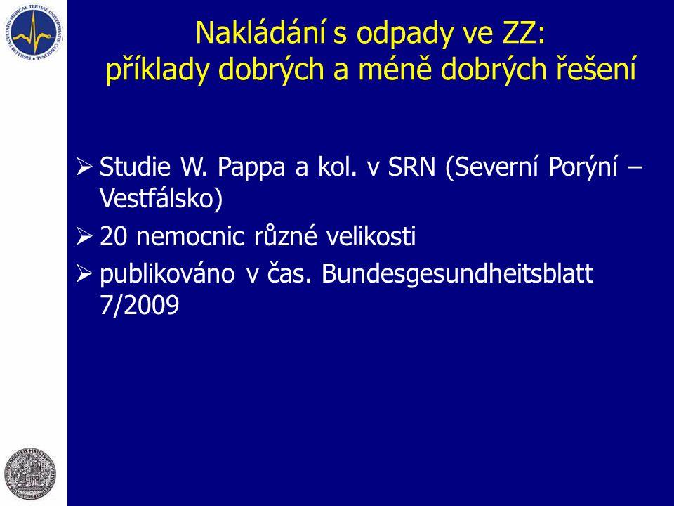 Nakládání s odpady ve ZZ: příklady dobrých a méně dobrých řešení  Studie W. Pappa a kol. v SRN (Severní Porýní – Vestfálsko)  20 nemocnic různé veli