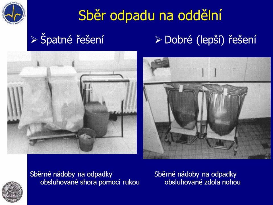 Sběr odpadu na oddělní  Špatné řešení Sběrné nádoby na odpadky obsluhované shora pomocí rukou  Dobré (lepší) řešení Sběrné nádoby na odpadky obsluhované zdola nohou